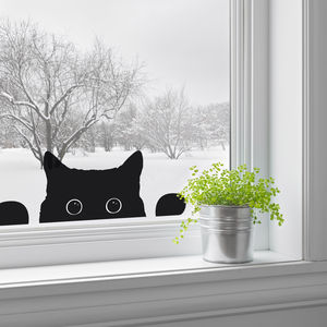 Peeping Cat Window Sticker - bedroom