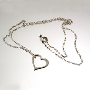 Silver Heart Necklace With 18' Chain - necklaces