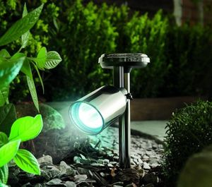 Stylish Black Nickel Solar Garden Spotlight - lighting