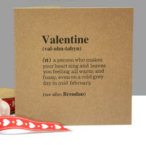 Personalised 'Valentine' Definition Card