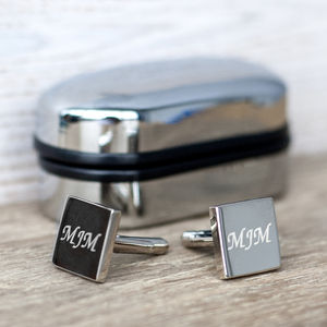 Personalised Square Silver Cufflinks And Box