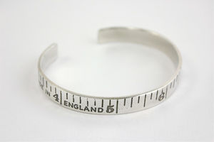 Etched Silver Vintage Style Tape Measure Bangle
