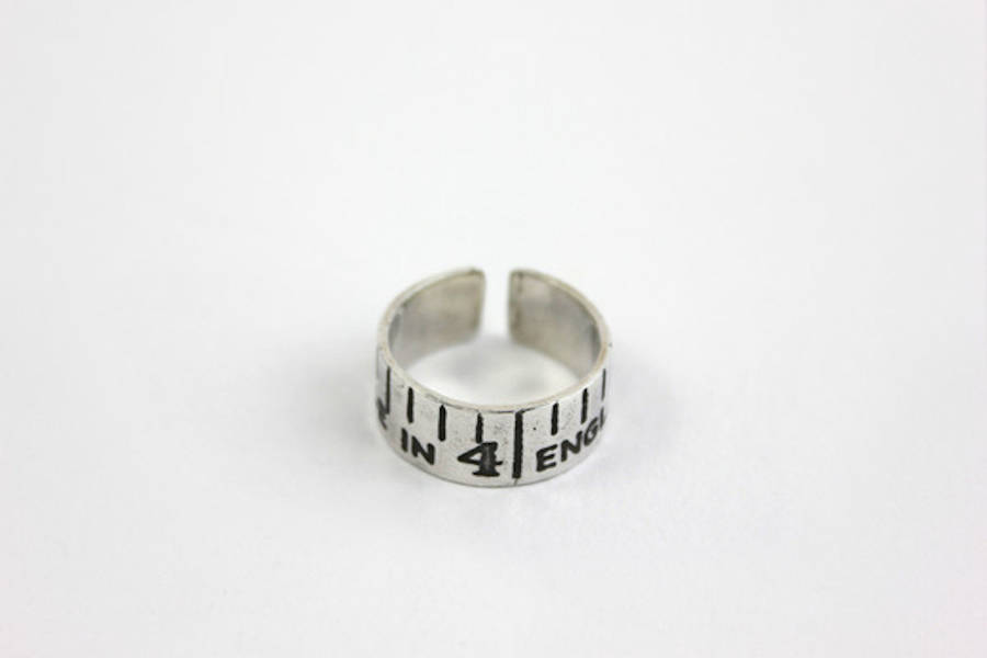 Emily Margaret Hill Jewellery Etched Silver Vintage Style Tape Measure Ring