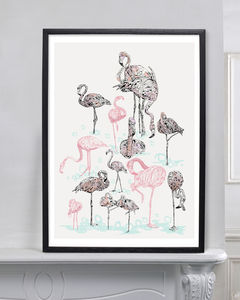 Pink Flamingos By Susie Wright - soft colour pop prints