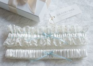 Olivia Satin And Lace Garter Set - bridal garters