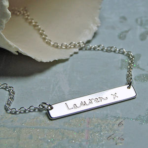 Personalised Silver Bar Necklace - necklaces & pendants
