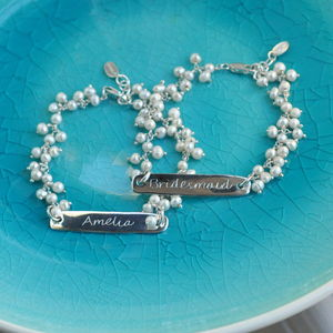 Personalised Seed Pearl And Silver Bar Bracelet - women's jewellery