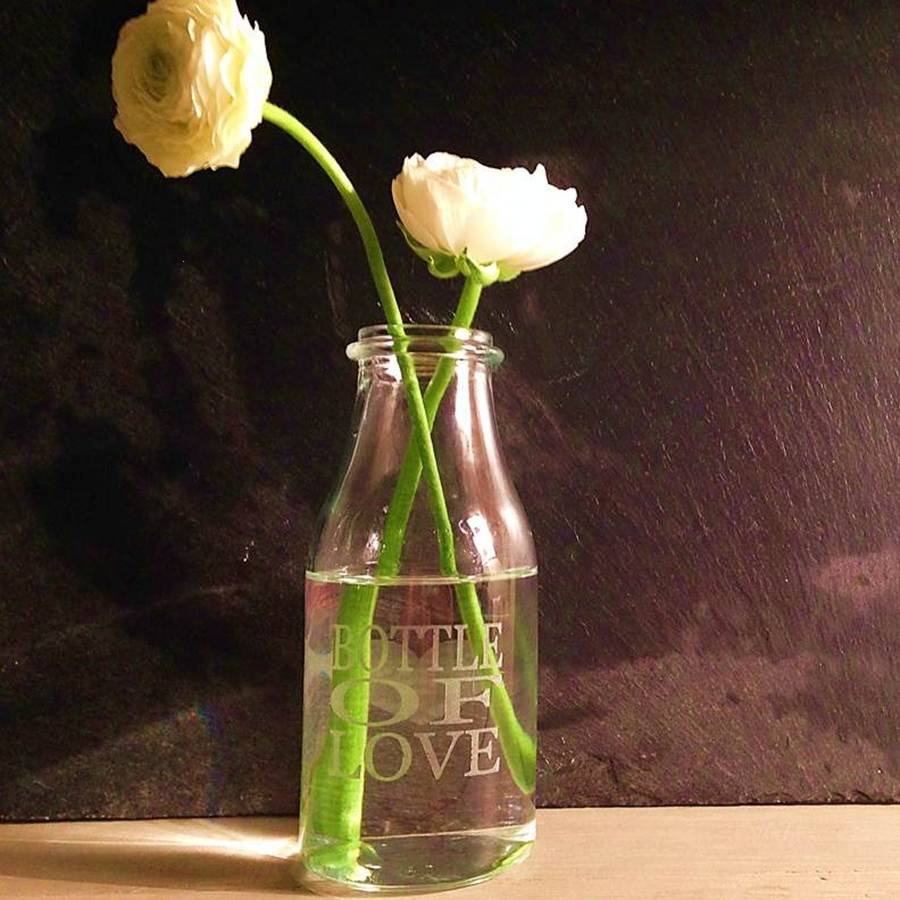Milk Bottle Vase Bottle Of Love By Green Amp Co Notonthehighstreet Com