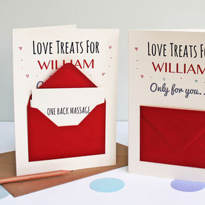'Love Treats' Secret Messages Card - love tokens for her