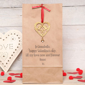 Personalised Valentine Gift Bag And Cherub - wrapping