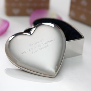 Engraved Heart Trinket Box - personalised