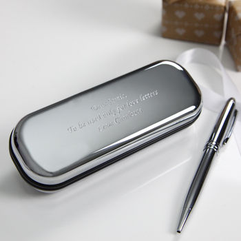 Silver Plated Pen With Engraved Gift Box