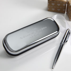 Silver Plated Pen With Engraved Gift Box - stationery