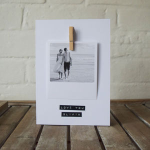 Personalised Polaroid Stamped Message Card - wedding, engagement & anniversary cards