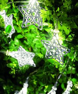 10 Silver Filigree Star Shaped Fairy String Lights - parties