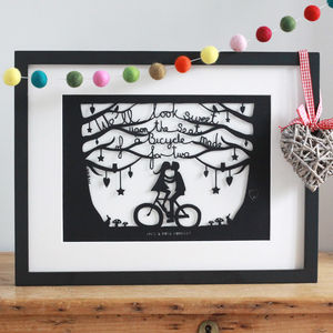 Romantic Bicycle Papercut Or Print