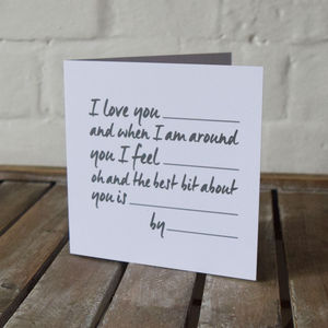 Personalised Write Your Own Love Story Card - anniversary cards