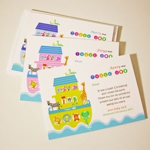 'Noah's Ark' Christening Thank You Cards - thank you cards