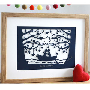 Romantic Rowing Boat Papercut Or Print