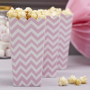 Pink Chevron Popcorn Boxes - room decorations