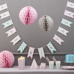 Chevron Happy Birthday Bunting Hanging Party Decoration - decorative accessories
