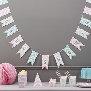Baby Shower Chevron Bunting Hanging Party Decoration - baby shower decorations