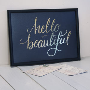 'Hello Beautiful' Gold Foiled Print - posters & prints