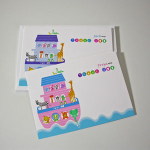 Personalised Noahs' Ark Thank You Cards