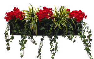 Artificial Geranium And Dracaena Window Box - artificial outdoor plants