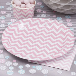 Chevron Pink Paper Party Plates - winter sale