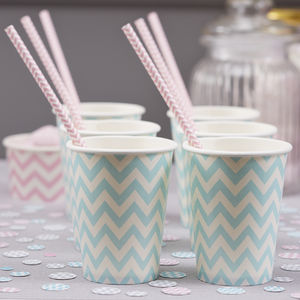 Pastel Blue Chevron Party Paper Cups - tableware