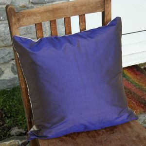 Brown Ticking/Purple Silk Cushion Cover - living room
