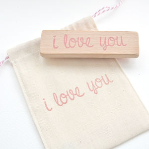 I Love You Hand Carved Rubber Stamp - wedding stationery