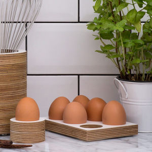 Wooden Egg Tray - egg cups & cosies