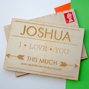 Personalised Engraved Wood Postcard - cards & wrap