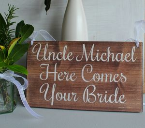 Personalised Here Comes Your Bride Handmade Wooden Sign - outdoor wedding signs