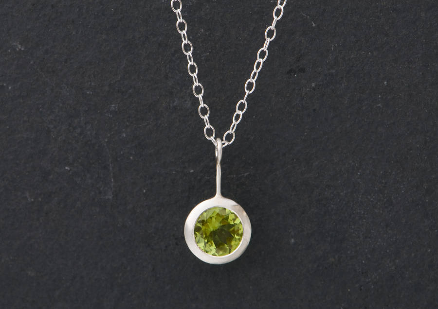 peridot pendant necklace in silver by william white