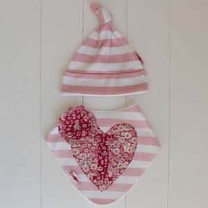 Personalised Star Or Heart Hat And Dribble Bib Gift Set