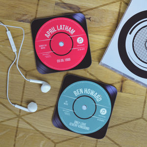 Personalised Record Vinyl Drinks Coaster - dining room