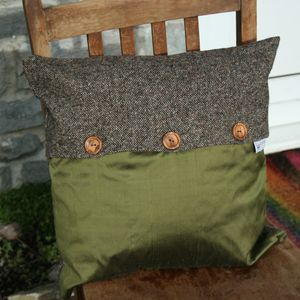 Handmade Tweed/Silk Cushion Cover With Buttons