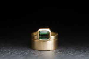 Tourmaline Gold Wedding Set - wedding rings