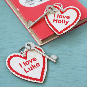 Personalised Couples Heart Keyring Set - personalised gifts for her