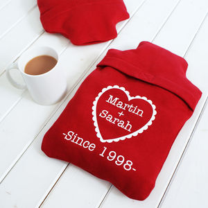 Personalised Together Since Hot Water Bottle Cover - 2nd anniversary: cotton