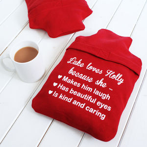 Personalised 'Love You Because' Hot Water Bottle Cover - bedroom