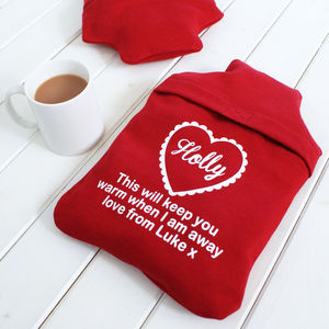 Personalised Hot Water Bottle Cover 'To Keep You Warm'