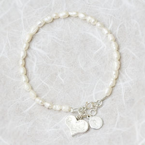 Laci Fresh Water Pearl And Silver Heart Bracelet - gifts for her