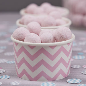 Pastel Pink Chevron Treat / Ice Cream Party Tubs - picnics & barbecues