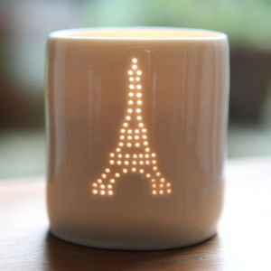 Porcelain Eiffel Tower Tea Light - candles & candle holders