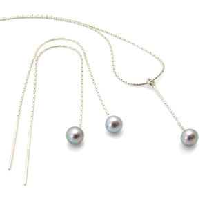 Pearl Pendant And Pull Through Earrings Jewellery Set - jewellery sets