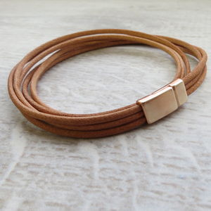 Rose Gold And Leather Cord Bracelet - bracelets & bangles
